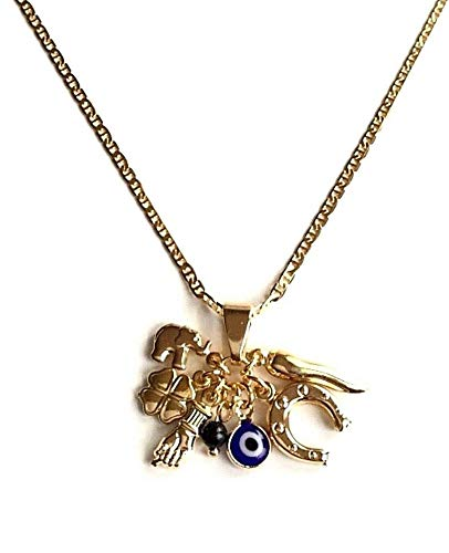 (18K Gold Plated Charm Elephant,Horseshoe,Eye Necklace 20