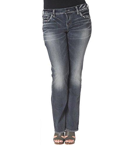Silver Jeans Women's Plus-Size Suki Mid Rise Indigo Slim Bootcut Jean, Indigo, 24x31