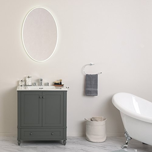 MAYKKE Madison 24'' W x 36'' H Oval LED Mirror, Wall Mounted Lighted Bathroom Vanity Mirror, Frameless Mirror, Horizontal or Vertical Mirror with LED Lighting Border UL Certified, LMA1032401 by Maykke (Image #2)