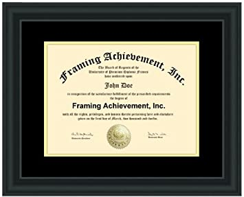 premium satin rich black diploma frame top mat black inner mat gold