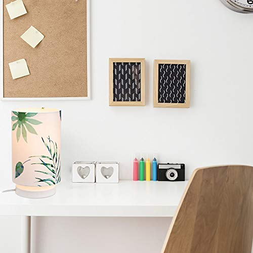 "Novogratz x Globe 67221 Lola 10"" Table Lamp, White Base, Palm Leaves Fabric Shade, in-Line On/Off Switch"