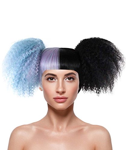 Halloween Party Online Multi-Toned Fancy Costume Wig Short Curly Double Ponytail Style HW-1433 ()