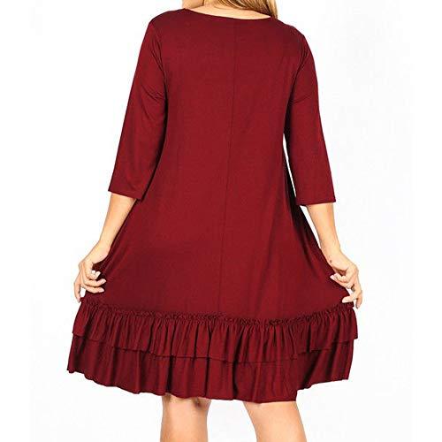 sólido hasta Tres la Rodilla Rojo Mujeres Colmena en la de más Vestido de el Cascada tamaño la Cuartos Manera de Challeng paw0xq