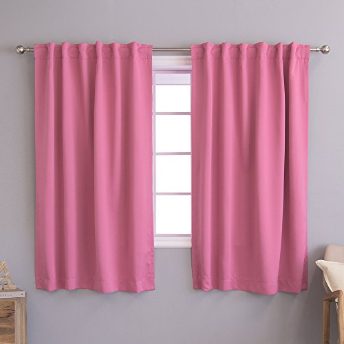 Best Home Fashion Thermal Insulated Blackout Curtains - Back Tab/ Rod Pocket - Pink - 52