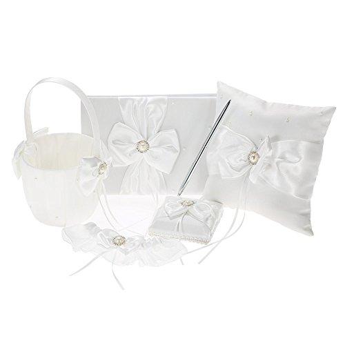 (Decdeal 5pcs/Set Wedding Supplies Flower Basket + Ring Pillow + Guest Book + Pen Holder + Bride Garter Set (Pearl-Bowknot))