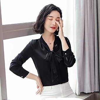 Mujer OL Blusa Francés Elegancia Estilo Blusa de Seda Camisas Más Tamaño 3XL Arco de Encaje Hasta Manga Larga Camisas de Oficina de Trabajo Blusas Negro Negro (XXXL: Amazon.es: Ropa y