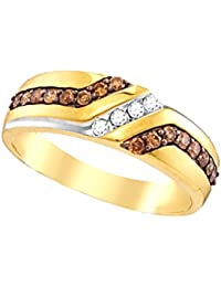 Chocolate Brown 10k Yellow Gold Mens Stunning Band Ring 1/3 Ctw.