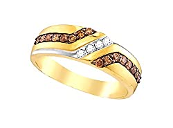 1/3 Ctw. Brandy Diamond Chocolate Brown 10k Yellow Gold Men's Stunning Band.