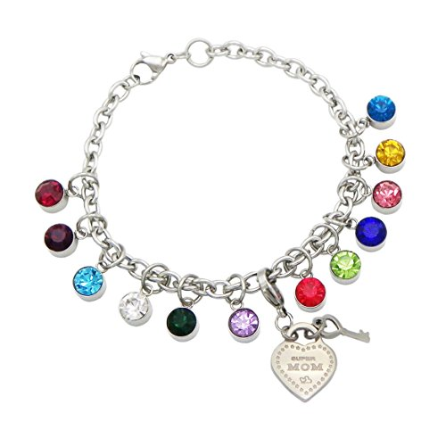 Rosemarie Collections Women's Birthstone Heart Charm Bracelet Hypoallergenic Stainless Steel (Super Mom)