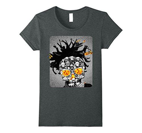 Womens Scary Eye Halloween Scarecrow Dreads Skull Head Fire Shirt XL Dark (Halloween Dreads)