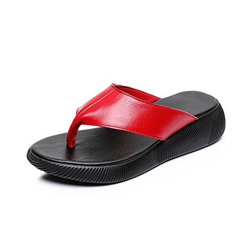 piatto EU36 spiaggia UK4 Scarpe Scarpe rosso estate da da infradito e Suola spessa Scarpe Primavera sandali dimensioni donna bovina CN36 YLLXZ infradito outdoor Pelle 6B1H1x