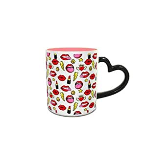 Heat Sensitive Heart Handle Pink Ceramic Mug with Lips Hearts and Stars Pattern Design 220