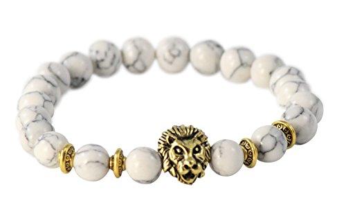 Animal Gold Charm Bracelet - Maya Bracelets Lion Head Charm Marble Stone Elastic Bracelet (White Gold)