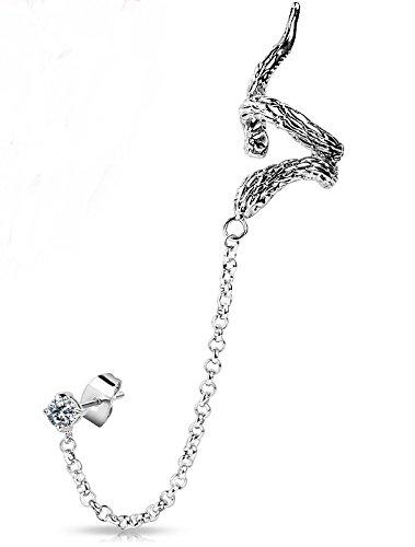Modern Polished Snake Ear Cuff Chain Linked CZ - Ear Cuffs Snake