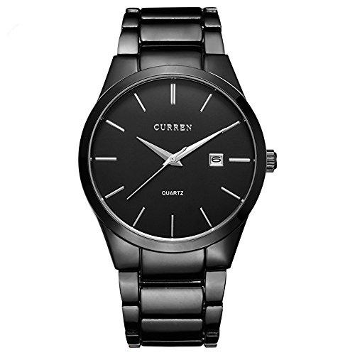 ALPS Mens Simple Black Stainless Steel Calendar Chronograph Wrist Watch