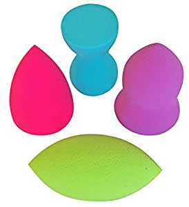 Pro Beauty Sponge Blender 4 pc Set Makeup Sponges for Foundation Blending, Stippling, Highlighting and Contouring! Flawless Applicator for Liquid, Creams, and Powders, Latex Free