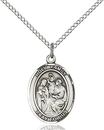 Sterling Silver Holy Family Medal Pendant, 3/4 Inch (Holy Pendant Family)