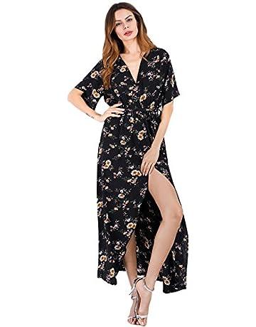 3ea50ed37af6 Escalier Women's Floral Maxi Dress Split Beach Flowy Party Dresses with Belt