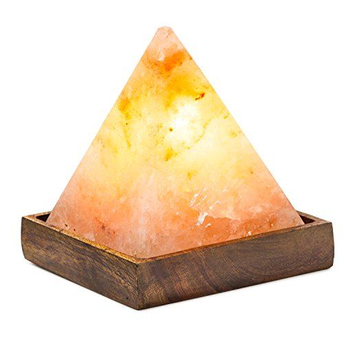 Hemingweigh Himalayan Glow Hand Carved Natural Crystal Himalayan Pyramid Salt Lamp With Genuine Wood Base, Bulb And On and Off Switch