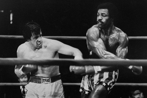 Sylvester Stallone and Carl Weathers in Rocky classic boxing