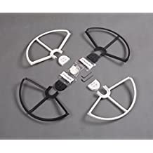 (WBCA) Snap On/off Prop Guards 2x White 2x Black for DJI Phantom 1 & 2 Phantom 3 Tool Free Quick Release Quick Disconnect Propeller Protector