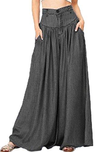 Vemubapis Ensemble des Femmes De Style Rtro Et Plaine Taille Haute, Jambe De Pantalon Black