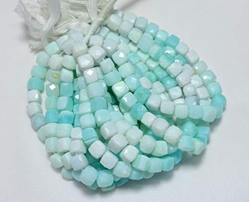 Peruvian Blue Opals - GemAbyss Beads Gemstone Bi-Color Peruvian Opal Beads, Blue Opal Beads, Natural Blue Opal Faceted Box Beads, 9.5mm Box Beads, 8.5 Inch Strand Code-MVG-24390