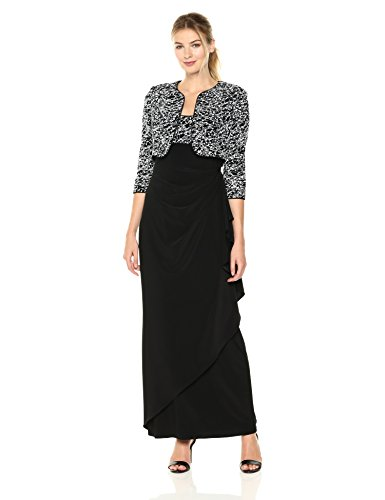 Alex Evenings Women's Empire Waist Dress with Side Ruched Skirt and Jacket (Petite and Regular Sizes), Black/White, 16