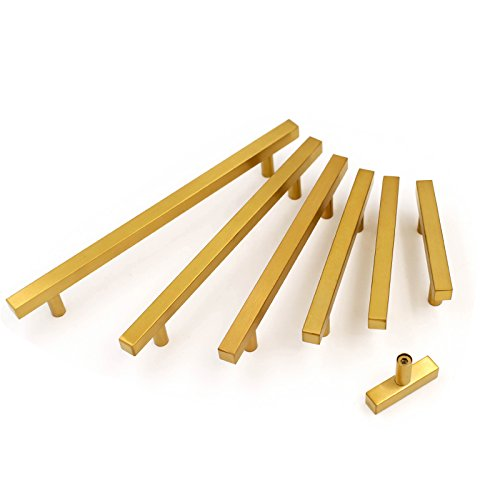 goldenwarm 3in Gold Drawer Pulls Brushed Brass Cabinet Pulls 15 Pack - LS1212GD76 Gold Drawer Knobs Kitchen Hardware Bathroom Cabinet Knobs Door Handle 5in(128mm) Overall Length by goldenwarm (Image #5)