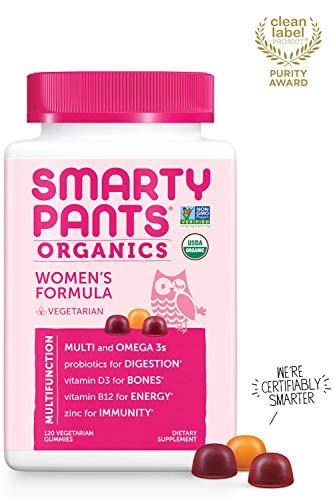 Daily Organic Gummy Women's Multivitamins: Biotin to Maintain Hair Growth*, Vitamin C, D3, E, B12, A, Omega 3, Zinc, Selenium, Niacin, Iodine, Methyl Folate by SmartyPants (120 Count, 30 Day Supply)