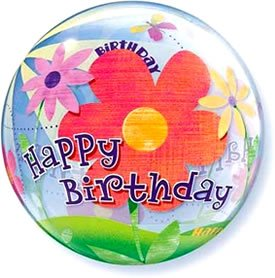 Happy Birthday Flowers Bubble Balloon 22