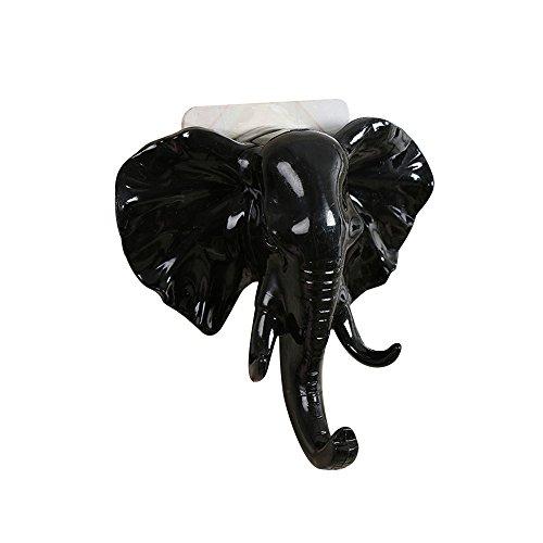 ❤SU&YU❤Elephant Head Self Adhesive Wall Door Hook Hanger Bag Keys Sticky Holder (Black) ()