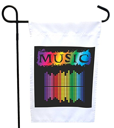 Music Equalizer House (Rikki Knight Neon Music Equalizers House or Garden Flag with 11 x 11-Inch Image, 12 x 18-Inch)