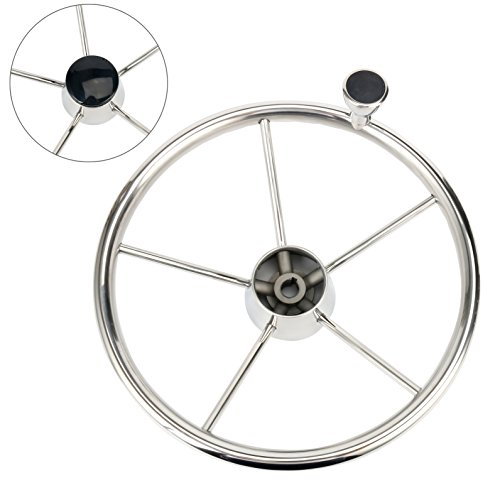 Amarine-made 5-spoke 13-1/2 Inch Destroyer Style Stainless Boat Steering Wheel with M Size Knob - 9310SRF1