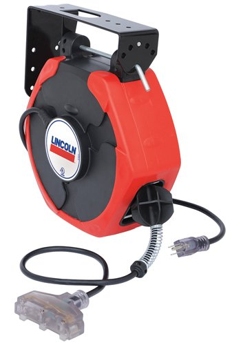 Lincoln 91029  Cord Medium Duty Reel with Triple Tap, 50-Feet (Color May Vary) by Lincoln Electric