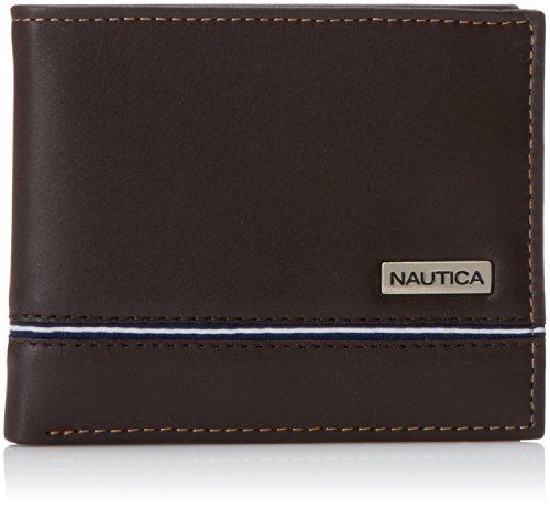 Nautica Men's Multi-Card Passcase Wallet,Brown,]()