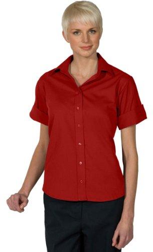 Ed Garments Women's Short Sleeve Poplin Shirt, RED, X-Large ()