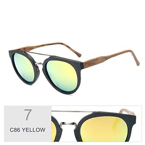 YELLOW Tendencia Acetato Uv400 Gafas C10 Madera Anti Sol De Revestimiento De C86 Sol Gafas En TIANLIANG04 Madera De Negro Hoja De Retro Gafas Polarizadas q6w7Zwx0g