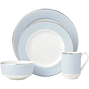Kate Spade New York 879735 Laurel Street 4 Piece Dinnerware Set, Blue
