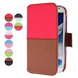 Simple Design PU Leather Case with Card Slot for Samsung Galaxy Note 2 N7100 (Assorted Colors) - COLOR#Red