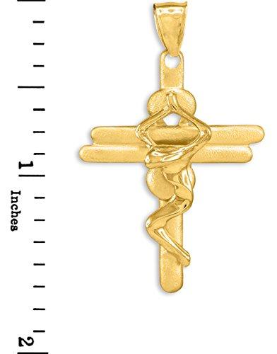 10 ct 471/1000 Or Moderne Crucifix-Croix- Pendentif