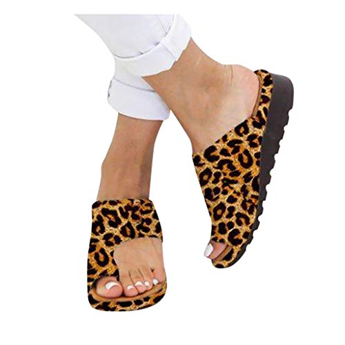 (NedolQ Womens Fashion 2019 Comfy Platform Sandal Shoes Ladies Flats Leopard Wedges Shoes Girl Casual Roman Slippers Peep Toe Sandals Summer Beach Travel Shoes (Leopard, 43))