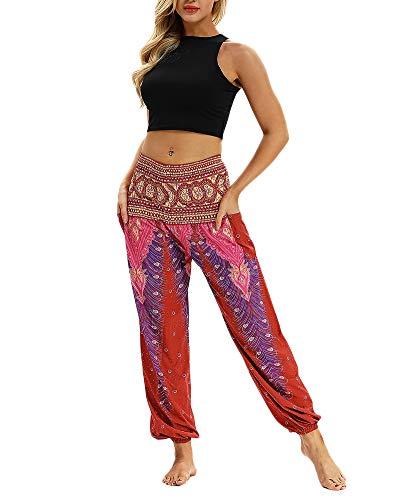 Pantaloni Di Lino Donna Baggy Harem Etnici Pantalone Hippy Yoga Fitness Pilates Pants 019