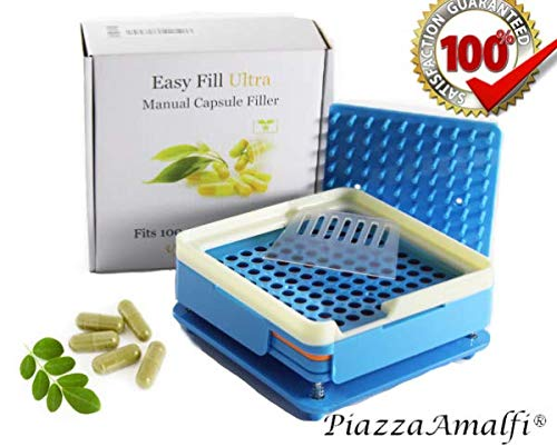Easy to Use 100 Hole Capsule filler Tray with Powder Block Plate & Tamper, by Piazza Amalfi [Upgraded Version] size 0