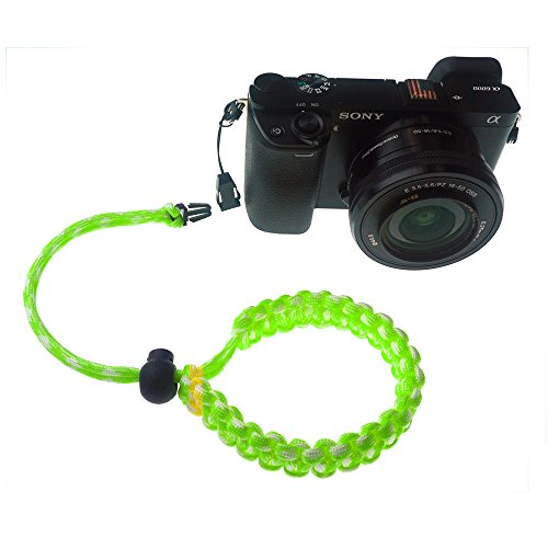 FoRapid Braided 550 Paracord Adjustable Camera Wrist Strap/Bracelet Quick Release Connector Fits All Camera Lugs for Mirrorless Compact System DSLR Cameras, Binoculars - Green/White