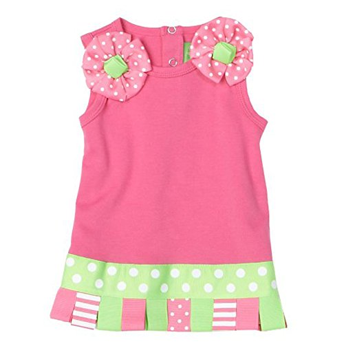 Mud Pie Baby Little Sprout Cotton Dress Embellished with Looped Ribbons, Hot Pink, 0 - 6 (Mud Pie Little Sprout)