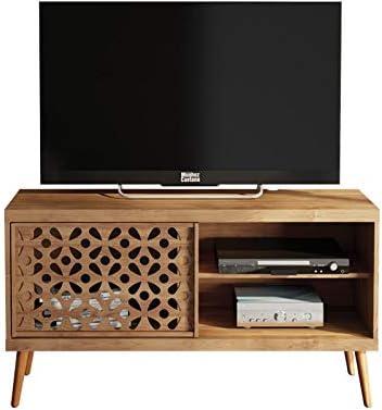 Caemmum - Mueble para TV (120 cm, Puertas de Dibujo, Patas de Madera): Amazon.es: Hogar