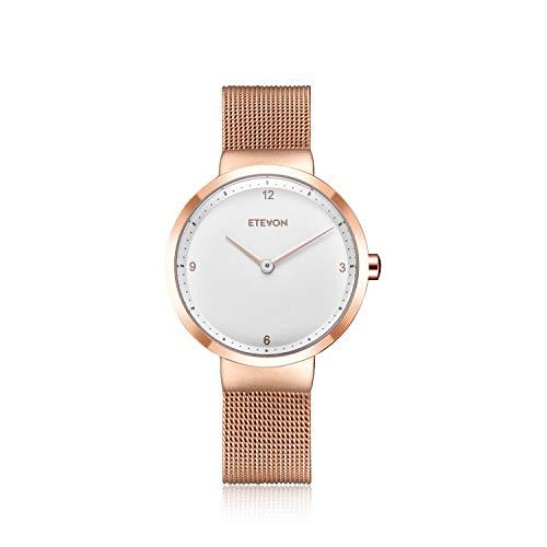 Gold Watch Mesh Bracelet - ETEVON Women's Quartz Analog Watch with Stainless Steel Plating Band and Mesh Bracelet Waterproof, Elegant Dress Wrist Watches for Women - Gold