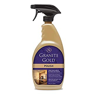 Granite Gold Polish Spray Maintain Shine, Luster and Resist Water Spots, Soap Scum and Fingerprints on Granite, Marble, Quartz, Natural Stone Surfaces-Made in the USA, 24 Ounces
