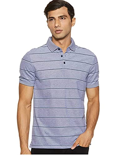Calvin Klein Men's Liquid Touch Polo Stripe with UV Protection, Indigo Night, Large